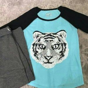 Justice tshirt and sweatpants set
